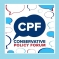 The CPF Logo which is the words the CPF and the words 'Conservative Policy Forum' surrounded by speech bubbles