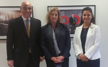 Pictures shows, from left, Karim Sacoor (chairman of the CDG) in the Department for Work and Pensions with Penny Mordaunt MP (Minister for Disabled People) and Heidi Allen MP (CDG Parliamentary Link)