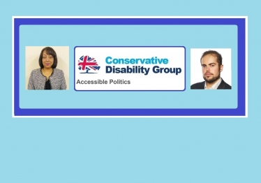 Image of Najma Begum and Jonathan Andrews and the CDG logo of a tree and the Union Flag and the words 'Accessible Politics'